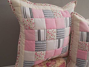 Úžitkový textil - patchwork obliečka 40x40 cm  šedo - ružová - 5545829_