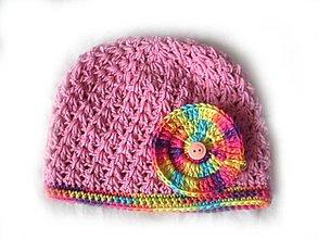 Detské čiapky - Ružová čiapočka - 5545696_