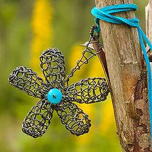 Náhrdelníky - Tyrkysový kvet :) - 5547701_