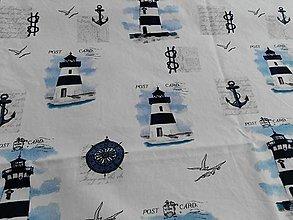 Textil - 100%-ná bavlna - Modré majáky na bielom podklade - 5547775_