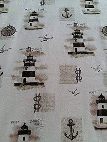 Textil - 100%-ná bavlna - Natur majáky na bielom podklade - 5547794_