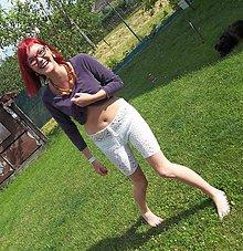 Nohavice - letní háčkované kraťásky - kytičky - 5552523_
