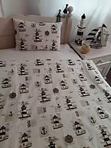 Úžitkový textil - Detské posteľné obliečky Natur majáky - 5552740_