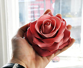 Drobnosti - Ruža XL z marcipánu tónovaná - 5556224_