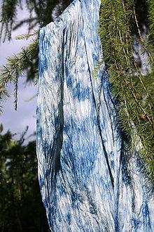 Šály - Morská pena - hodvábny pléd farbený indigom 90x180 cm - 5555874_