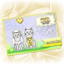 Papiernictvo - Zvieracia svadba - grafická pohľadnica - mačky - 5555772_