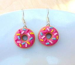 Náušnice - Rúžové donutky - 5558553_