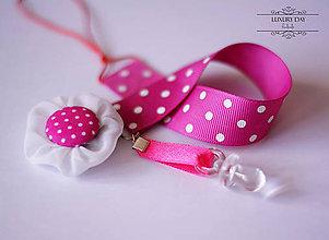Detské doplnky - Retiazka na cumlík - ružová bodka - 5559063_