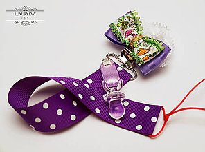 Detské doplnky - Retiazka na cumlík - fialová bodka - 5559828_