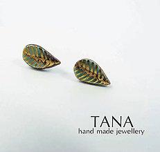 Náušnice - Tana šperky -keramika/zlato, lístočky - 5556925_