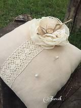 Prstene - Natural svadobný vankúšik - 5557910_