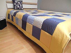 Úžitkový textil - prehoz na posteľ - patchwork deka 140x200 žlto - modrá  (Prehoz 140 x 200 cm) - 5562963_