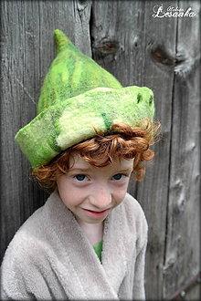 Čiapky - ♥ Fľakoško zelený - pre malého elfa ♥ - 5560816_
