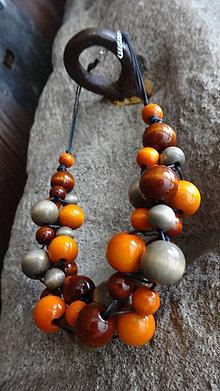 Náhrdelníky - Latte macchiato orange - veľ.M - 5560947_
