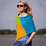 Iné oblečenie - Pončo modro zeleno žlté - 5566934_