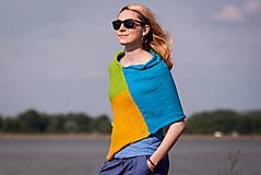 Iné oblečenie - Pončo modro zeleno žlté - 5566936_