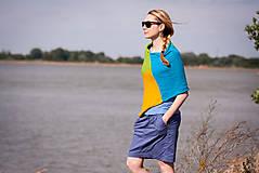 Iné oblečenie - Pončo modro zeleno žlté - 5566938_
