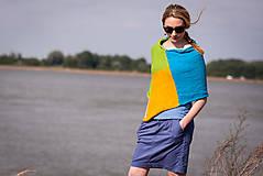 Iné oblečenie - Pončo modro zeleno žlté - 5566939_