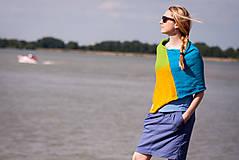 Iné oblečenie - Pončo modro zeleno žlté - 5566940_
