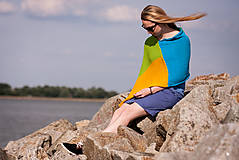 Iné oblečenie - Pončo modro zeleno žlté - 5566942_