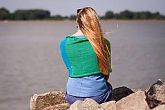 Iné oblečenie - Pončo modro zeleno žlté - 5566943_