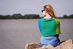 Iné oblečenie - Pončo modro zeleno žlté - 5566944_