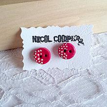 Náušnice - pink button - 5567489_