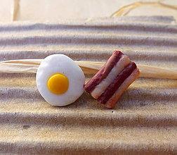 Náušnice - Vajíčko a slaninka - napichovačky - 5569194_
