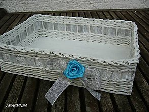 Dekorácie - Svadobný košíček 30x22x9 cm (strieborná stuha) - 5570205_