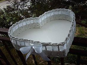 Košíky - Srdce veľké - biela mi pristane - 5569207_