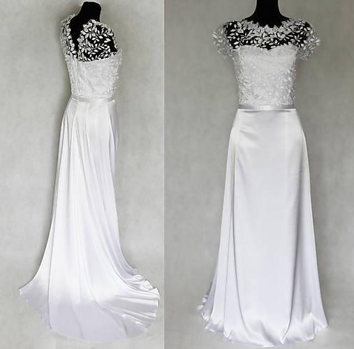 Svadobné šaty lístoček s vlečkou