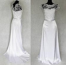 Šaty - Svadobné šaty lístoček s vlečkou - 5571508_