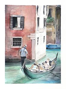 Obrazy - Gondoliér - originál, akvarel - 5572803_