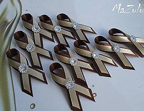 Pierka - béžová & hnedá /svadobné pierka - 5576315_