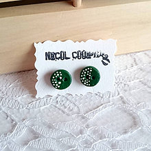Náušnice - green button - 5576053_