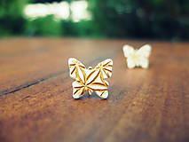 Náušnice - Náušnice Motýle zlatisté - 5577631_