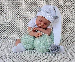 Detské čiapky - Šašo čiapočka - biela myška - 5579456_