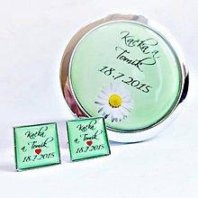 Darčeky pre svadobčanov - zrkadielko + manžetové gombíky na želanie - 5577733_