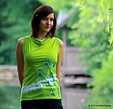 Dámske tričko bez rukávov, šité, batikované a maľované Z JAZIERKA
