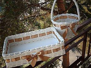 Košíky - Svadba v zlato-hnedom saténe - 5581693_