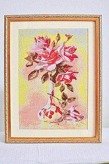 Obrázky - Ručně vyšívaný obraz váza s ružami - 5581089_