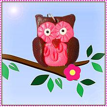 Náhrdelníky - Sladká sovička prívesok - ružová - 5581189_