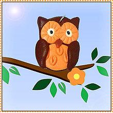 Náhrdelníky - Sladká sovička prívesok (oranžová) - 5581846_