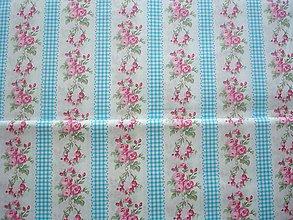 Textil - Látka bavlna ruže v tyrkysovom páse - 5583562_