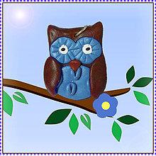 Náhrdelníky - Sladká sovička prívesok - modrá - 5584276_