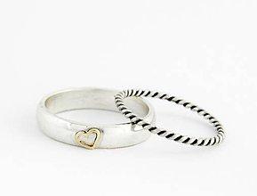 Prstene - komplet prsteňov Srdečný, 925 striebro + 585 zlato - 5587985_