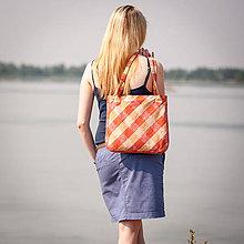 Veľké tašky - Károvaná oranžová - 5590503_