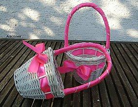 Dekorácie - košíček pre družičku (ružový - cyklámen) - 5590138_