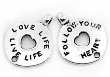 Prívesok s mottom LOVE LIFE - LIVE LIFE