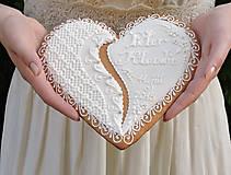 Darčeky pre svadobčanov - Medovníkové Svadobné Srdce - 5591426_